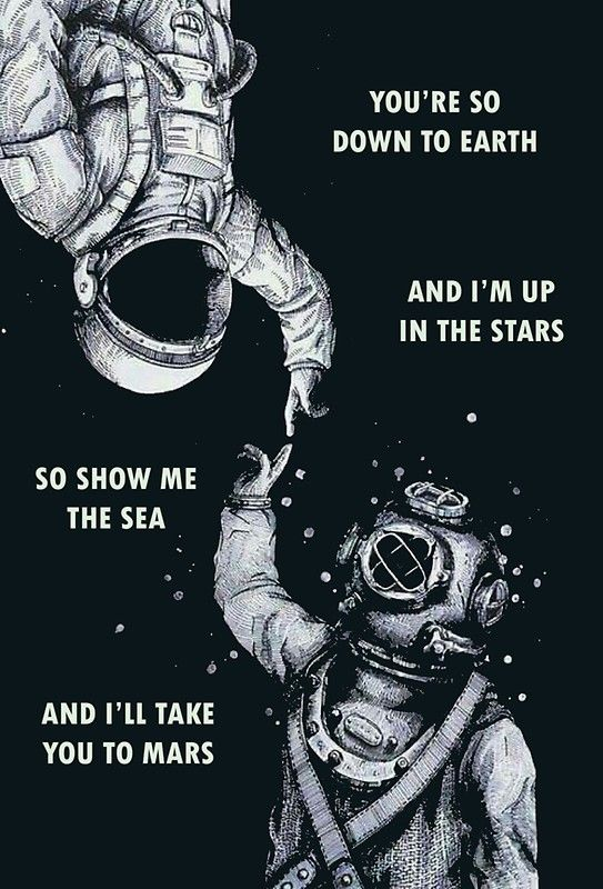 'Astronaut and Diver - I'm Up in The Stars' Poster by dru1138